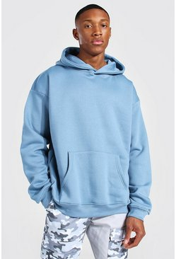 Dusty blue blue Oversized Over The Head Hoodie