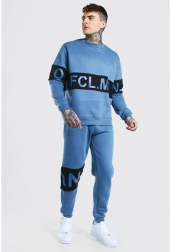 Official Man Colour Block Sweater Tracksuit, Blue azul