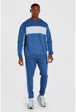 Blue Original Man Colour Block Sweater Tracksuit