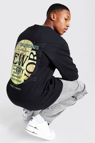 Black Loose Fit Ls New York City Back Print T-shirt