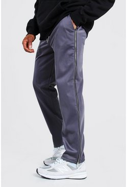 Charcoal grey Official Man Wide Leg Tricot Zip Joggers