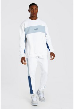 Original Man Colour Block Sweater Tracksuit, White blanco