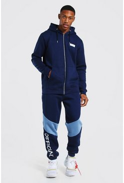 Marineblauw navy Official Man Colour Block Trainingspak Met Rits En Capuchon