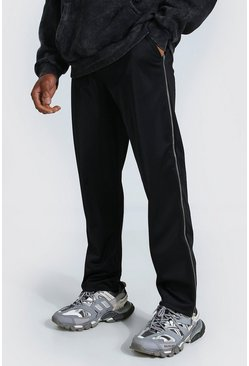 Black Official Man Wide Leg Tricot Zip Joggers