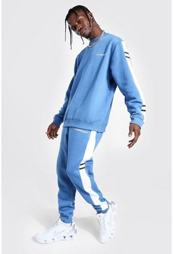 Man Official Side Panel Sweater Tracksuit, Teal verde
