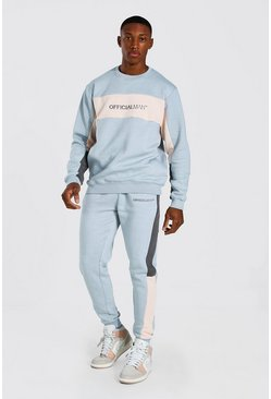Grey grå Original Man Colour Block Sweater Tracksuit