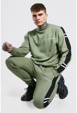 Man Official Side Panel Sweater Tracksuit, Khaki caqui