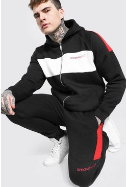Black Official Man Colour Block Zip Hood Tracksuit