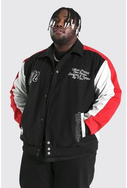 Black Plus Size Fabric Block Varsity Harrington