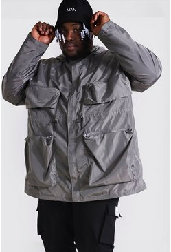 Grey Plus Size Multi Pocket Utility Cagoule