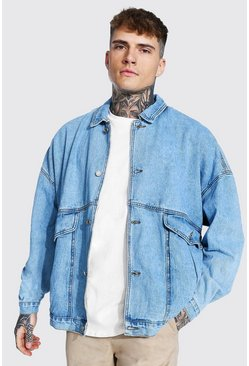 Extreme Oversized Denim Jacket, Ice blue