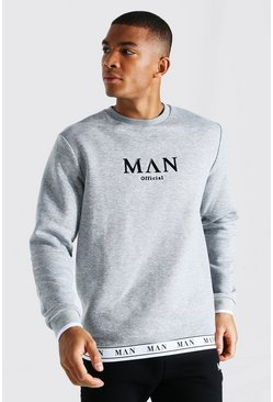 Grey marl grey Man Roman Tape Hem Sweatshirt