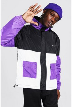 Purple Man Colour Block Anorak Met Logo En Zakken