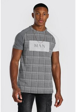 Grijs grey Man Jacquard Colour Block T-Shirt Met Tekst
