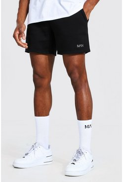 Original Man Kurze Regular Fit Jersey-Short, Schwarz