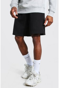 Black Basic Middellange Baggy Jersey Shorts