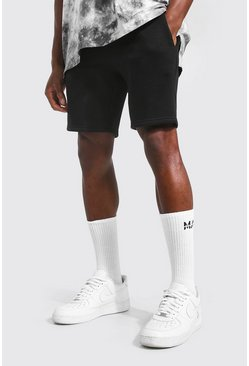 Black Basic Mid Length Slim Jersey Shorts