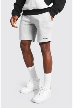Grey marl grey Man Signature Mid Length Slim Jersey Shorts