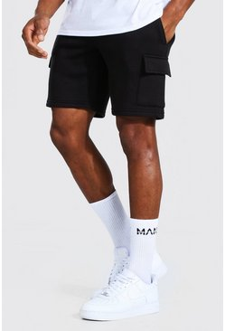 Black Basic Mid Length Slim Cargo Shorts