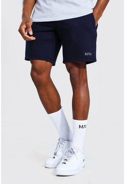 Short droit mi-long en jersey - MAN, Navy marine