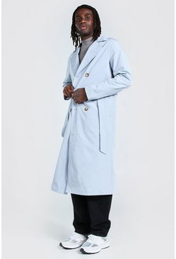 Dusty blue blue Extra Longline Double Breasted Trench Coat