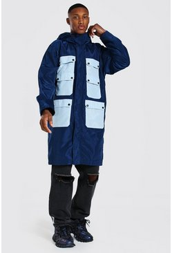 Blue Colour Block Pocket Longline Parka