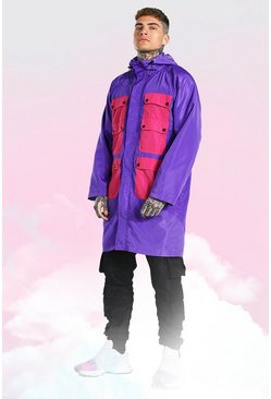 Purple Colour Block Pocket Longline Parka