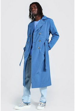 Navy Extra Longline Double Breasted Trench Coat