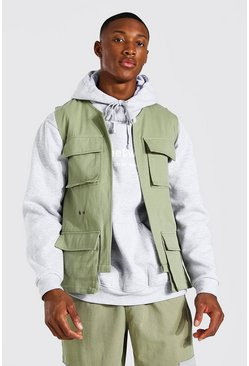 Sage green Twill Utility Pocket Vest With Belt Detail