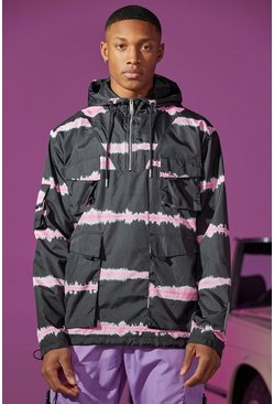Black Oversized Tie Dye Hooded Utility Jacket