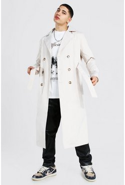 Stone beige Extra Longline Double Breasted Trench Coat
