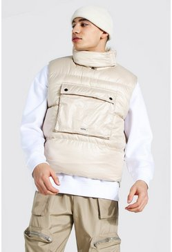 Borg Lined Overhead Boxy Gilet, Stone beis