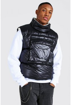 Black Borg Lined Overhead Boxy Gilet