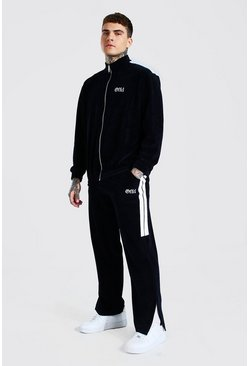 Navy Official Velour Split Funnel Neck Tracksuit