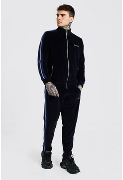 Navy Official Velour Funnel Neck Tape Tracksuit