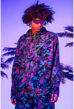 Purple Oversized Camo Print Hooded Utility Jacket