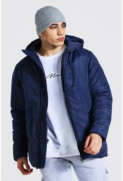 Mid navy blue Hooded Boxy Parka