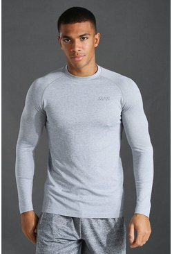 Grey marl grey Man Active Seamless Long Sleeve Top