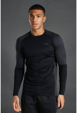 Black Man Active Seamless Long Sleeve Top