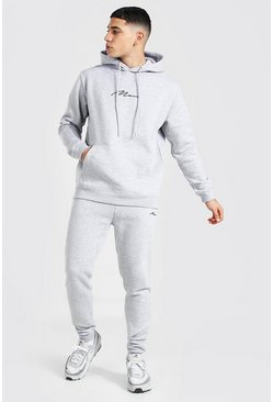 Grey marl grey Man Signature Regular Hooded Tracksuit