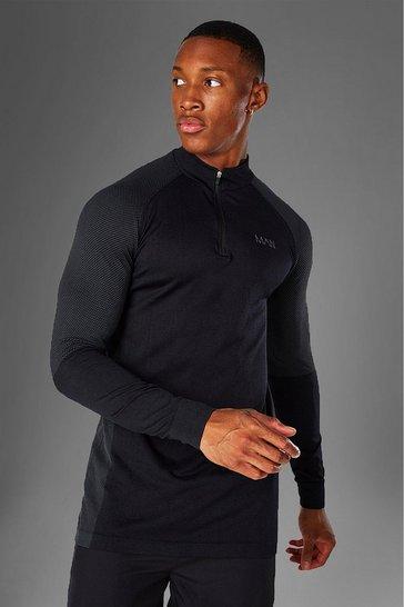 Black Man Active Seamless 1/4 Zip Top