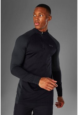 Black Man Active Seamless 1/4 Zip Top