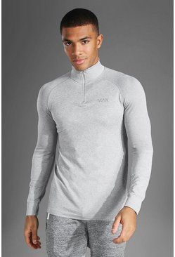 Grey marl grey Man Active Seamless 1/4 Zip Top