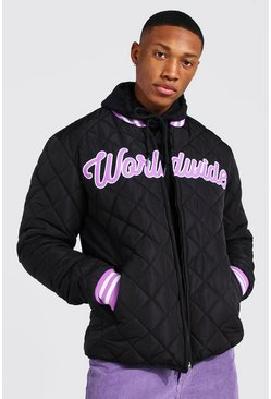 Black Quilted Straight Hem Bomber
