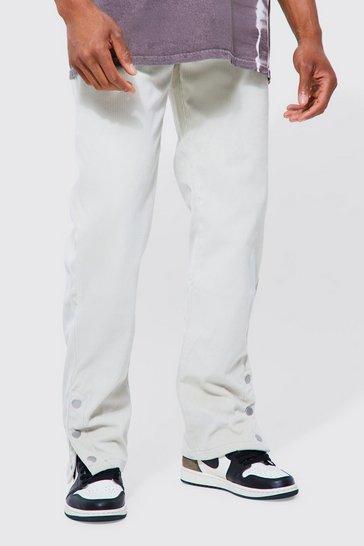 Stone beige Straight Leg Stretch Cord Popper Hem Trouser