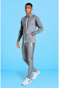 Grey Man Active Tonal Hooded Zip Thru Tracksuit