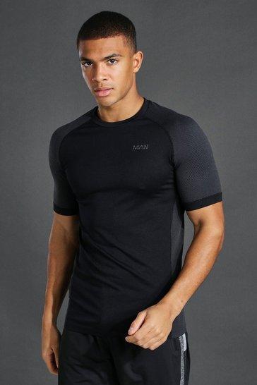 Black Man Active Seamless T Shirt
