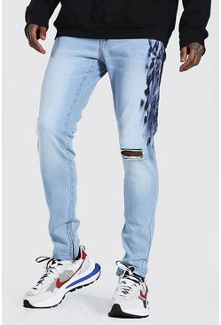 Ice blue Skinny Stretch Paint Detail Jean