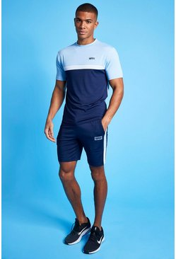Pale blue blue Man Active Marl Colour Block Short Tracksuit