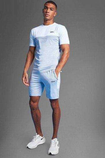 White Man Active Marl Colour Block T Shirt